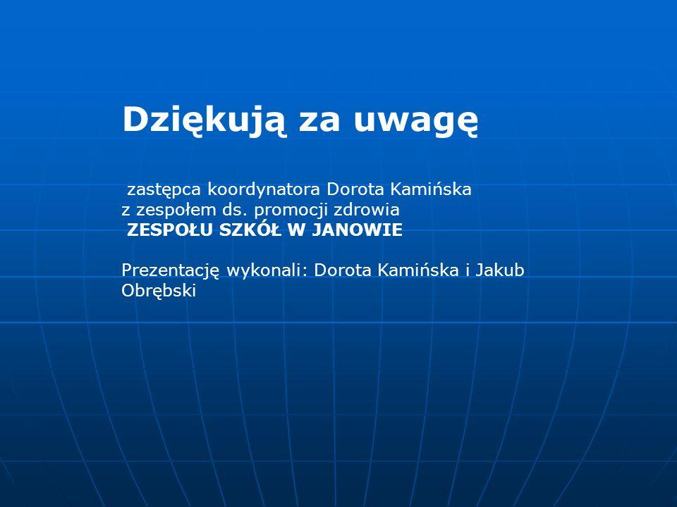 Dziękują za uwagę zastępca koordynatora Dorota Kamińska