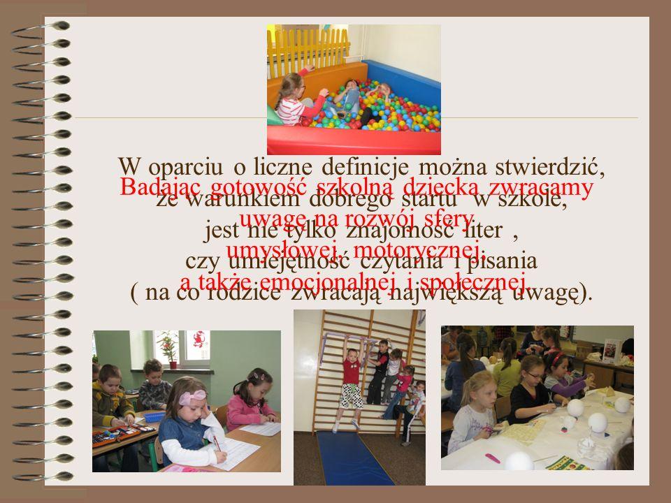 Badając gotowość szkolną dziecka zwracamy uwagę na rozwój sfery