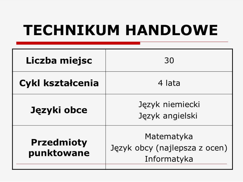 TECHNIKUM HANDLOWE Liczba miejsc Cykl kształcenia Języki obce