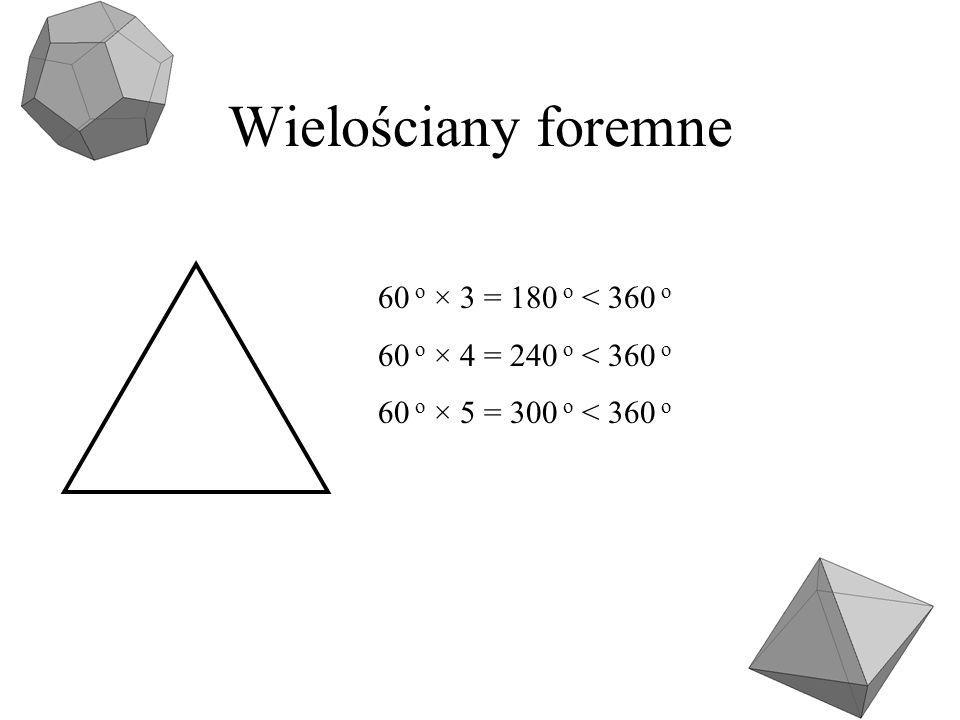 Wielościany foremne 60 o × 3 = 180 o < 360 o