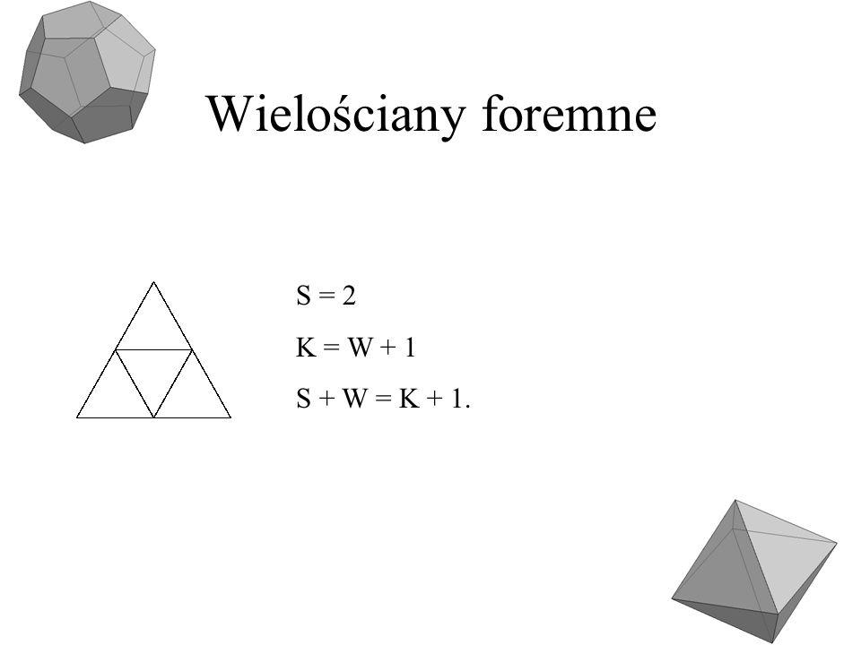 Wielościany foremne S = 2 K = W + 1 S + W = K + 1.