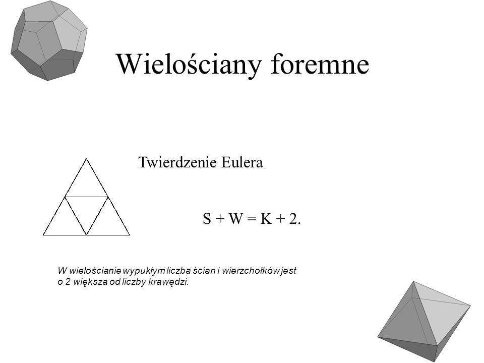 Wielościany foremne Twierdzenie Eulera S + W = K + 2.