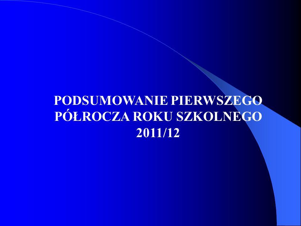 PODSUMOWANIE PIERWSZEGO PÓŁROCZA ROKU SZKOLNEGO 2011/12