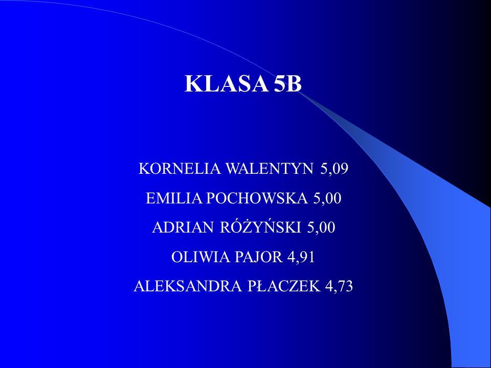 KLASA 5B KORNELIA WALENTYN 5,09 EMILIA POCHOWSKA 5,00