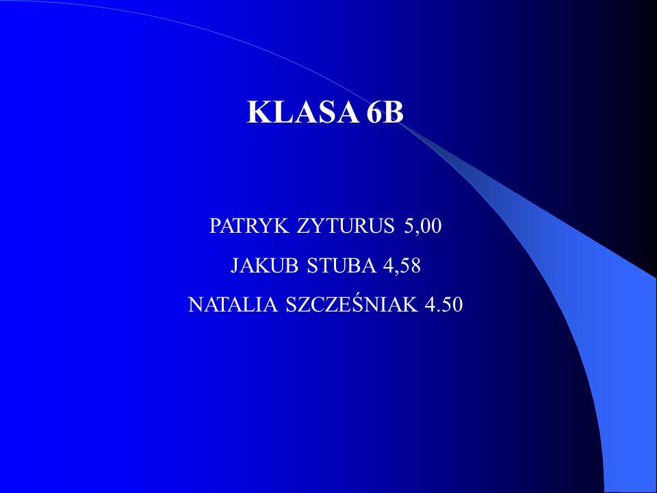 KLASA 6B PATRYK ZYTURUS 5,00 JAKUB STUBA 4,58 NATALIA SZCZEŚNIAK 4.50