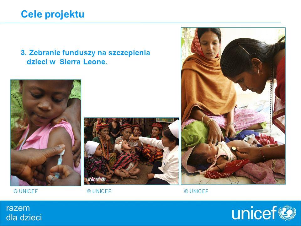 Cele projektu 3. Zebranie funduszy na szczepienia dzieci w Sierra Leone.
