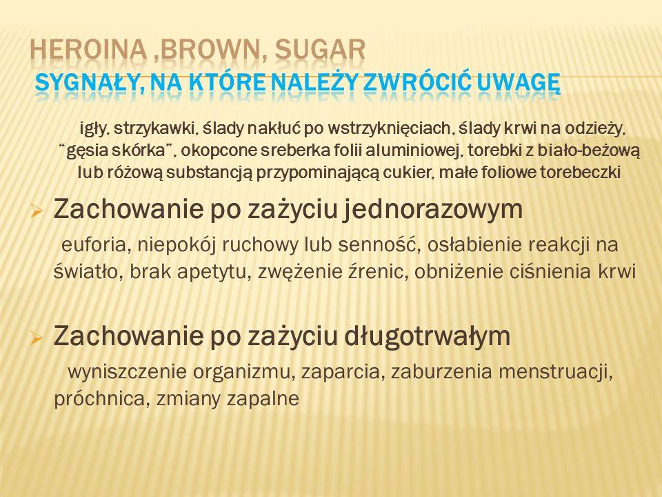 Heroina ,brown, sugar Sygnały, na które należy zwrócić uwagę