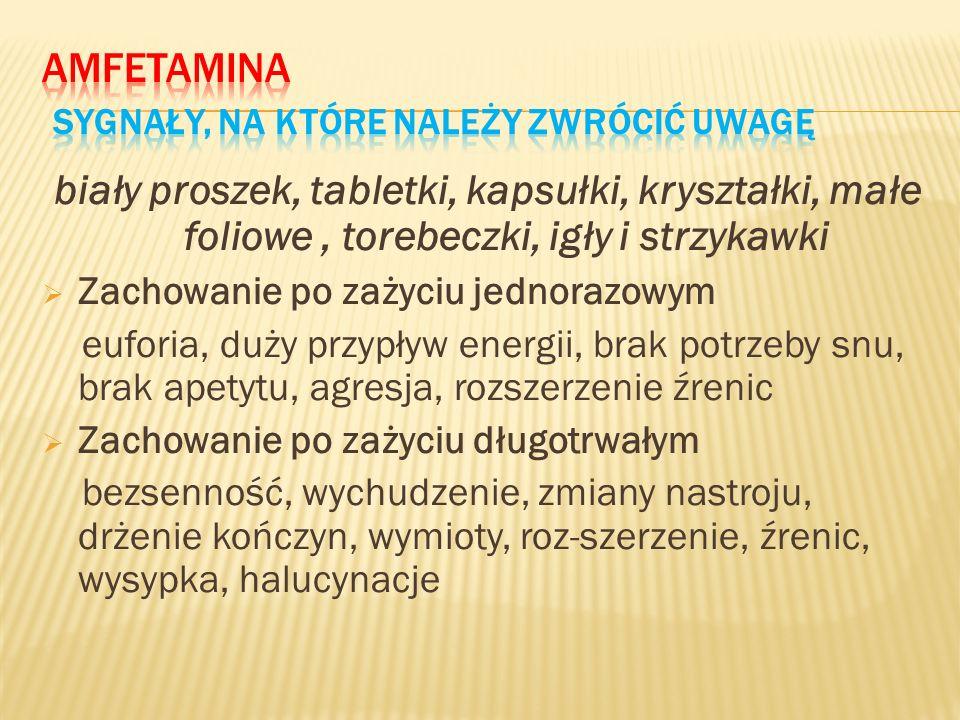 Amfetamina Sygnały, na które należy zwrócić uwagę