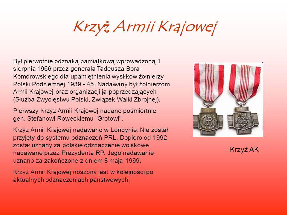 Krzyż Armii Krajowej Krzyż AK