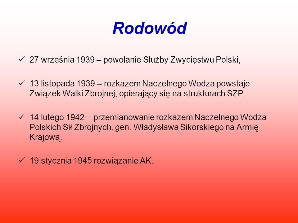 Rodowód 27 września 1939 – powołanie Służby Zwycięstwu Polski,