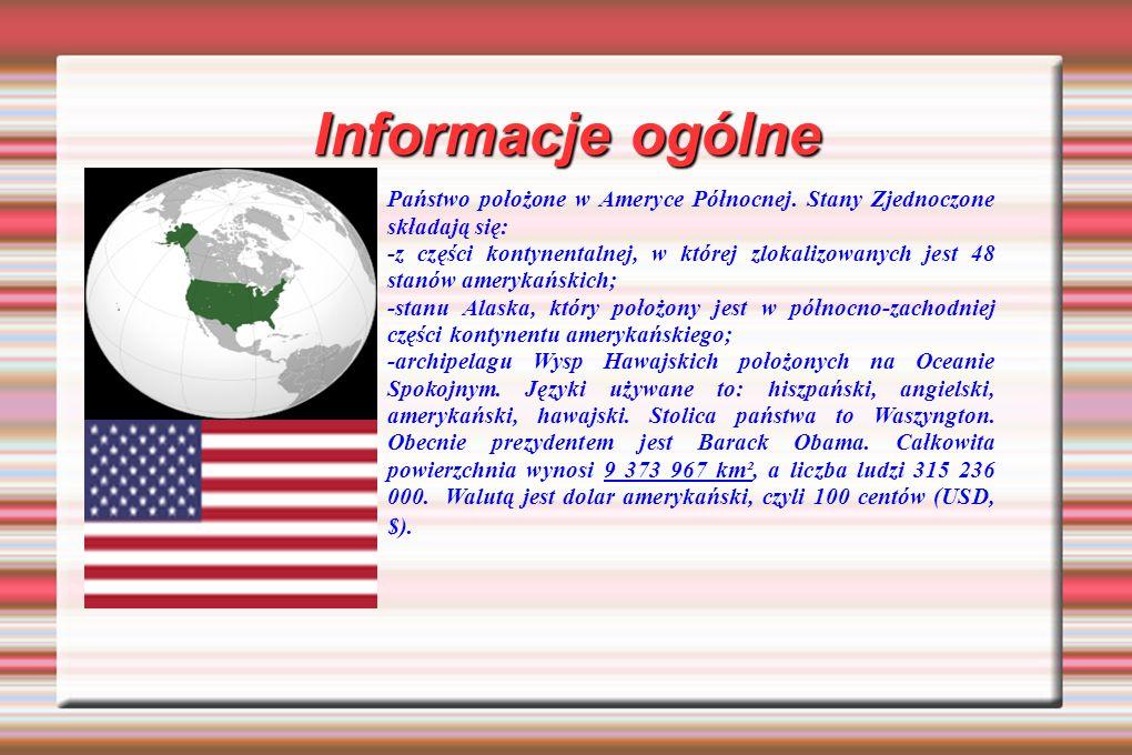 Informacje ogólne Państwo położone w Ameryce Północnej. Stany Zjednoczone składają się: