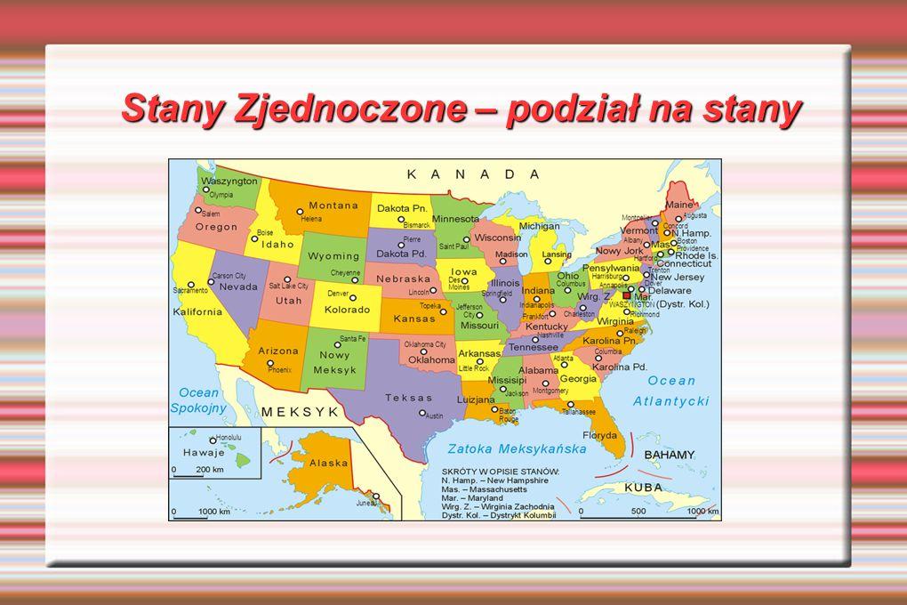 Stany Zjednoczone – podział na stany