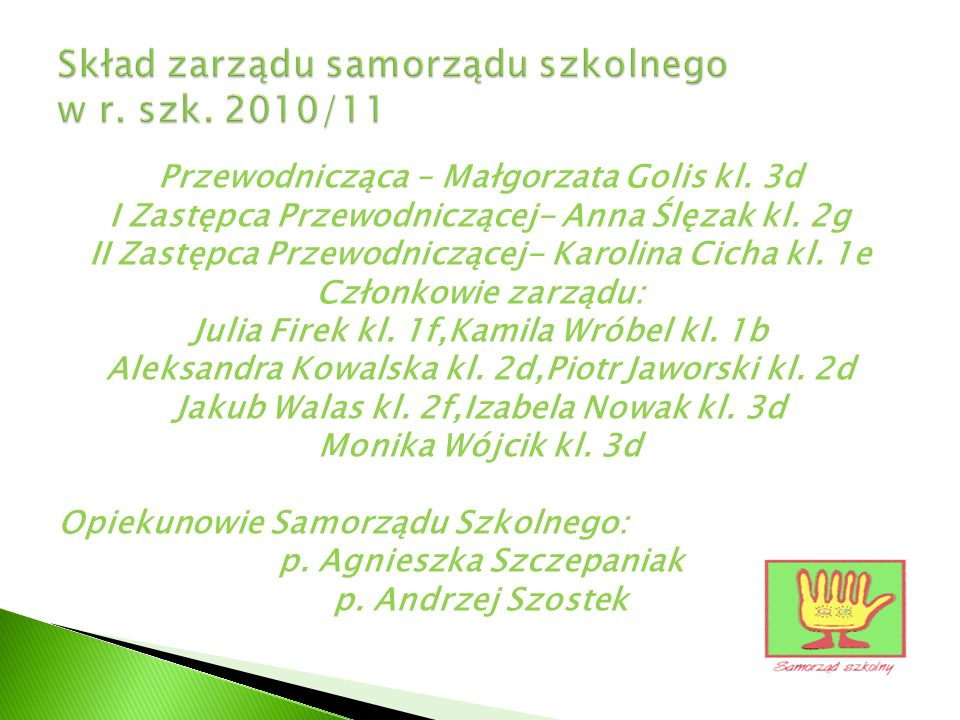 Skład zarządu samorządu szkolnego w r. szk. 2010/11