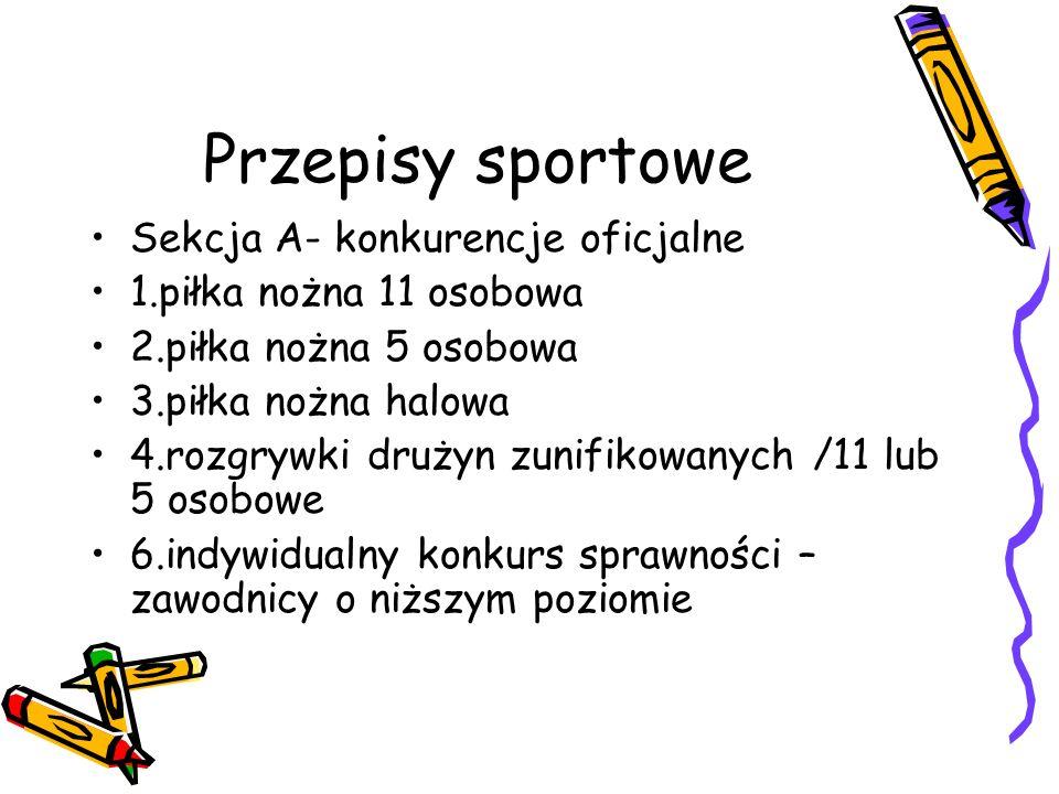 Przepisy sportowe Sekcja A- konkurencje oficjalne