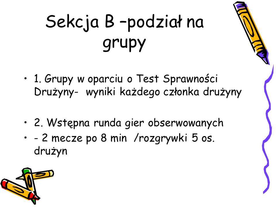 Sekcja B –podział na grupy