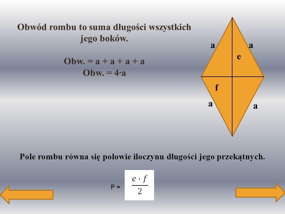 Obwód rombu to suma długości wszystkich jego boków.