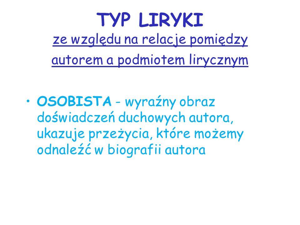 TYP LIRYKI ze względu na relacje pomiędzy autorem a podmiotem lirycznym