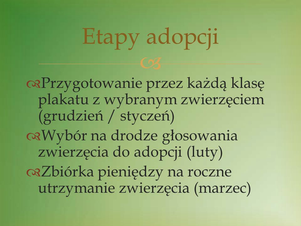Etapy adopcji Przygotowanie przez każdą klasę plakatu z wybranym zwierzęciem (grudzień / styczeń)