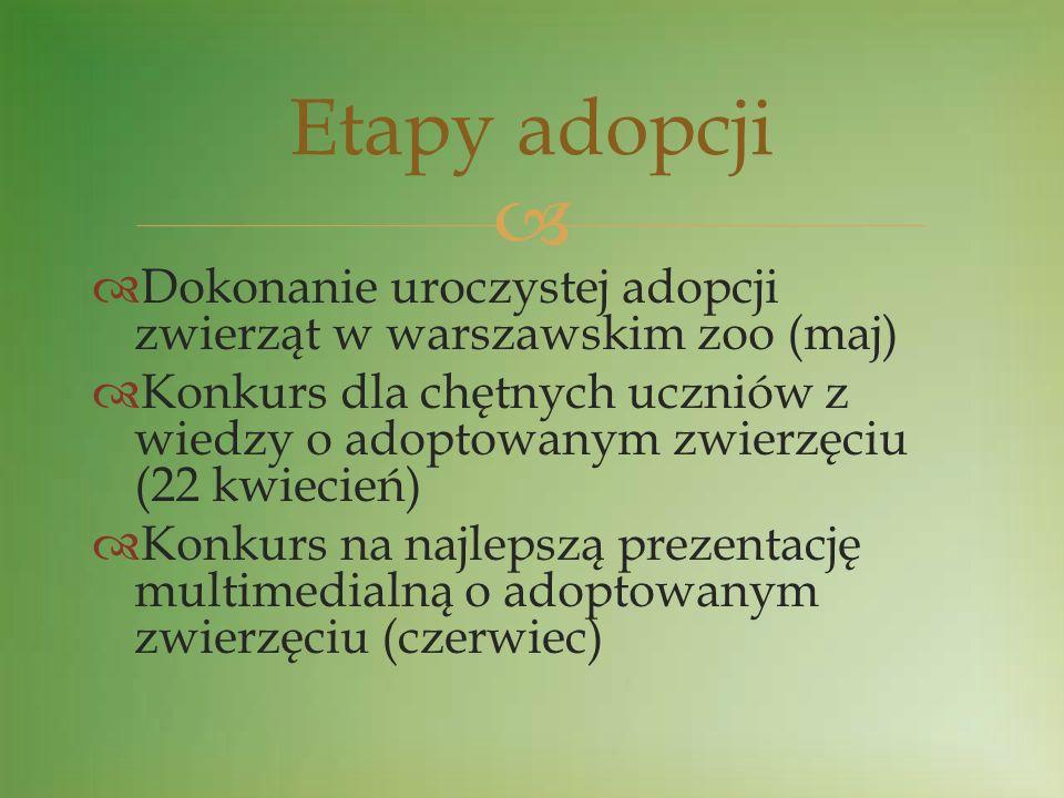 Etapy adopcji Dokonanie uroczystej adopcji zwierząt w warszawskim zoo (maj)