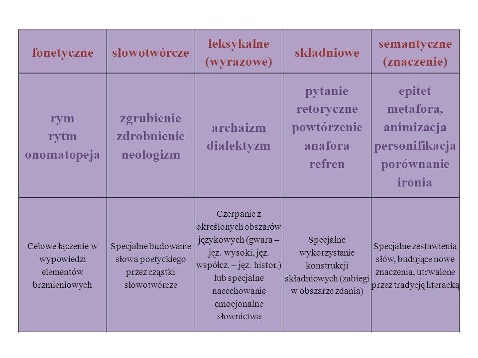 leksykalne (wyrazowe) semantyczne (znaczenie)