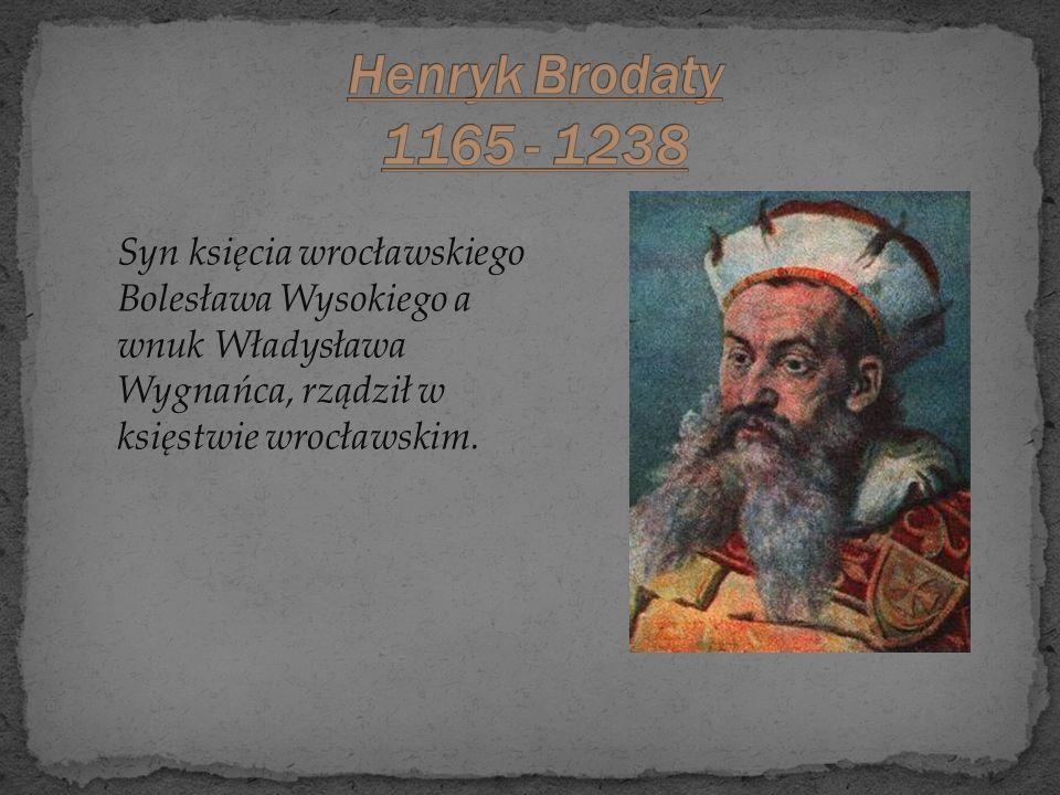Henryk Brodaty 1165 - 1238 Syn księcia wrocławskiego Bolesława Wysokiego a wnuk Władysława Wygnańca, rządził w księstwie wrocławskim.