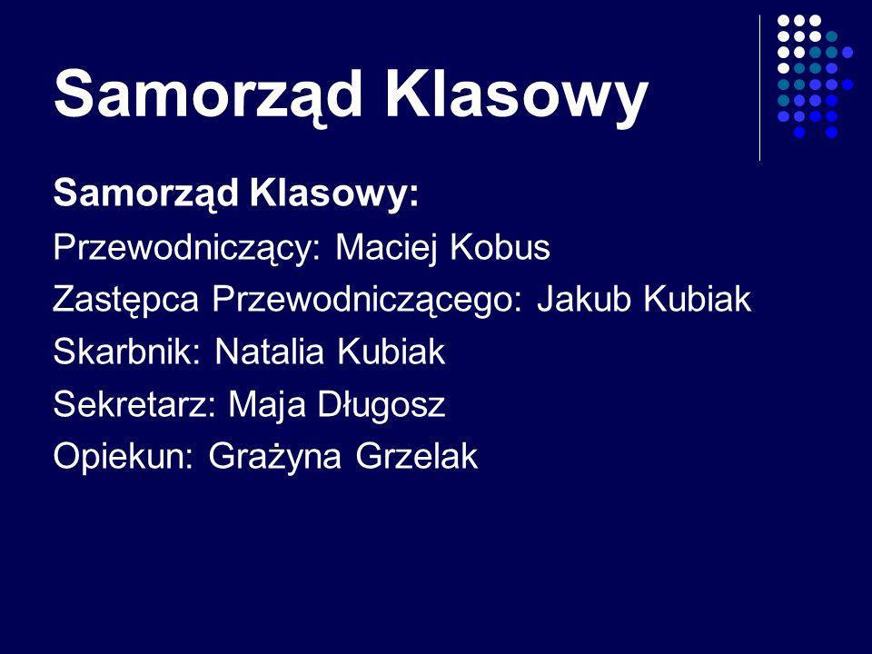 Samorząd Klasowy Samorząd Klasowy: Przewodniczący: Maciej Kobus