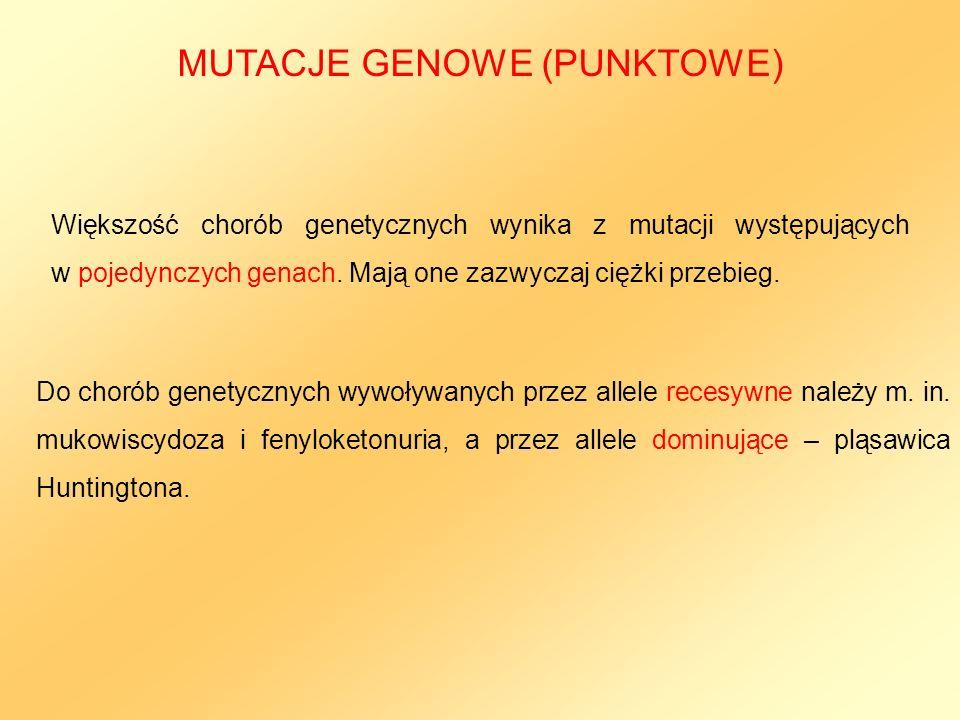 MUTACJE GENOWE (PUNKTOWE)