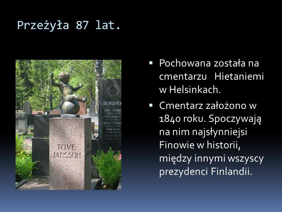 Przeżyła 87 lat. Pochowana została na cmentarzu Hietaniemi w Helsinkach.