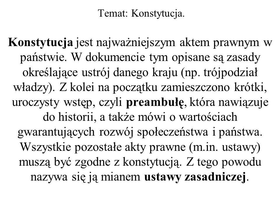 Temat: Konstytucja.