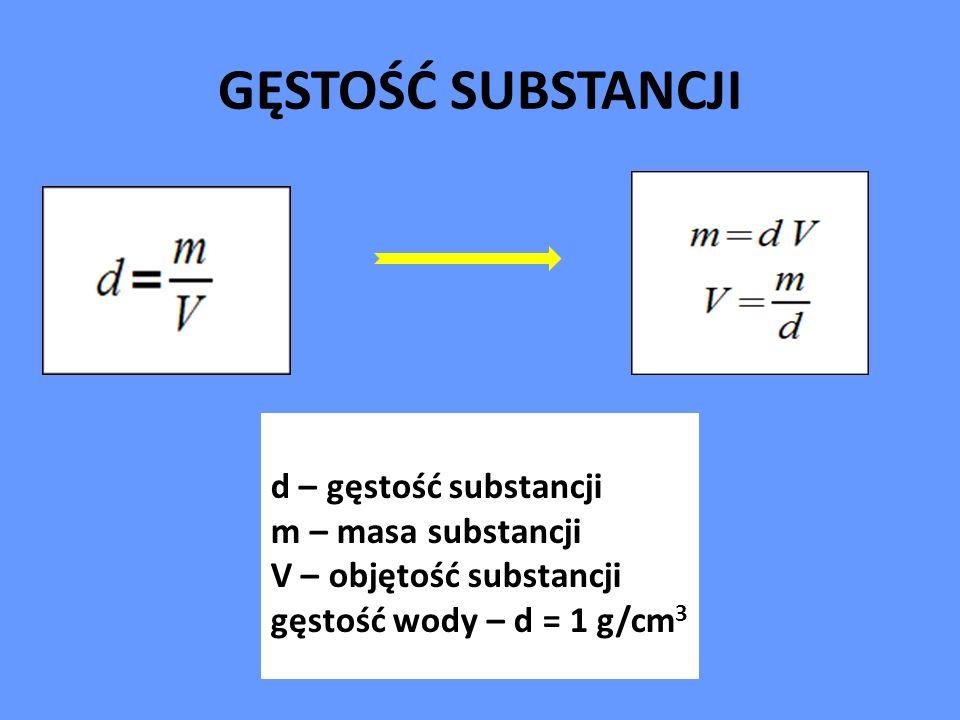 GĘSTOŚĆ SUBSTANCJI d – gęstość substancji m – masa substancji