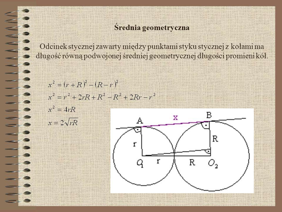 Średnia geometryczna Odcinek stycznej zawarty między punktami styku stycznej z kołami ma długość równą podwojonej średniej geometrycznej długości promieni kół.