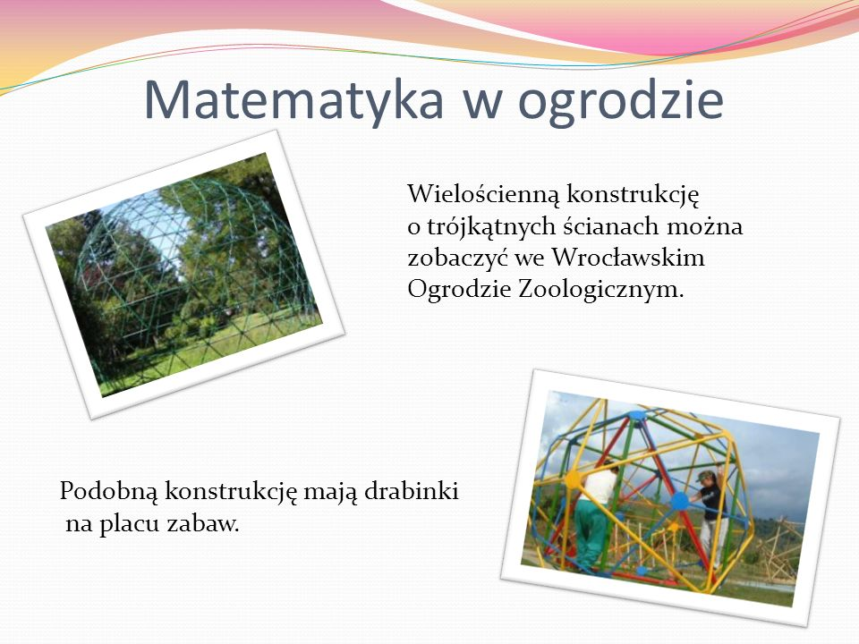Matematyka w ogrodzieWielościenną konstrukcję o trójkątnych ścianach można zobaczyć we Wrocławskim Ogrodzie Zoologicznym.