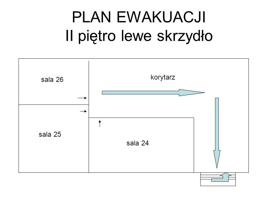 PLAN EWAKUACJI II piętro lewe skrzydło