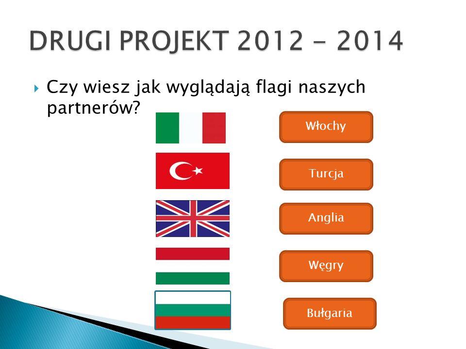 DRUGI PROJEKT 2012 - 2014 Czy wiesz jak wyglądają flagi naszych partnerów Włochy. Turcja. Anglia.