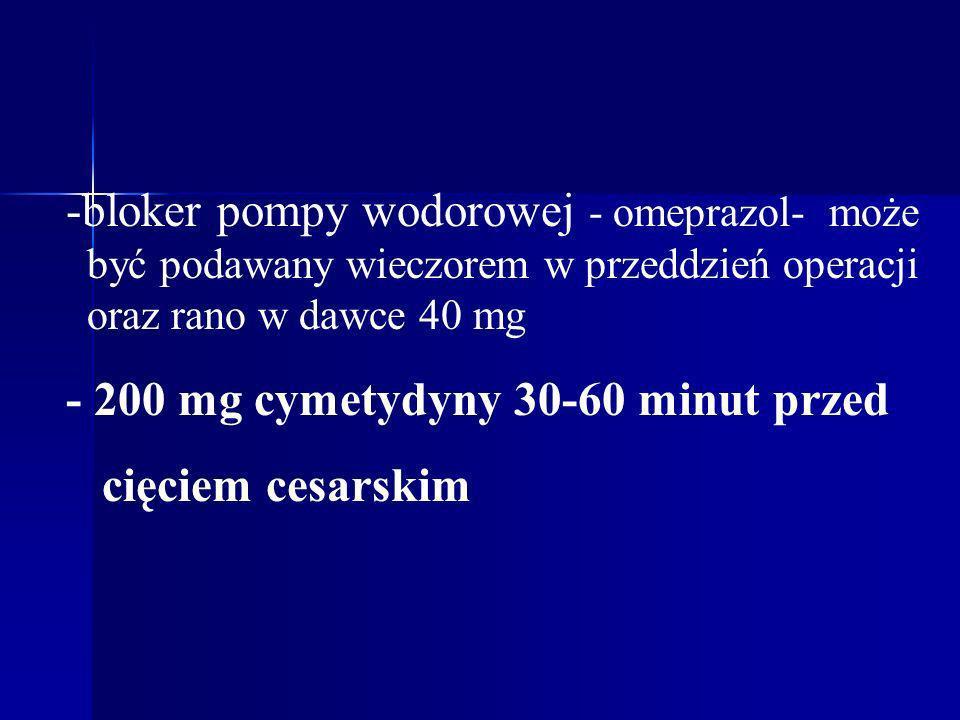 -bloker pompy wodorowej - omeprazol- może być podawany wieczorem w przeddzień operacji oraz rano w dawce 40 mg