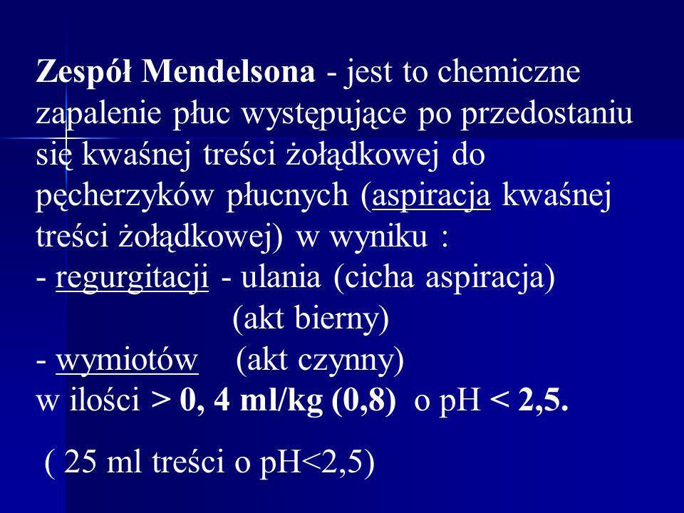 Zespół Mendelsona - jest to chemiczne zapalenie płuc występujące po przedostaniu się kwaśnej treści żołądkowej do pęcherzyków płucnych (aspiracja kwaśnej treści żołądkowej) w wyniku : - regurgitacji - ulania (cicha aspiracja) (akt bierny) - wymiotów (akt czynny) w ilości > 0, 4 ml/kg (0,8) o pH < 2,5.