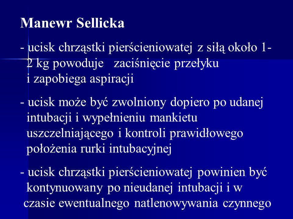 Manewr Sellicka - ucisk chrząstki pierścieniowatej z siłą około 1- 2 kg powoduje zaciśnięcie przełyku i zapobiega aspiracji.