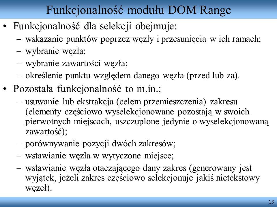Funkcjonalność modułu DOM Range