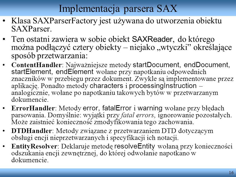 Implementacja parsera SAX