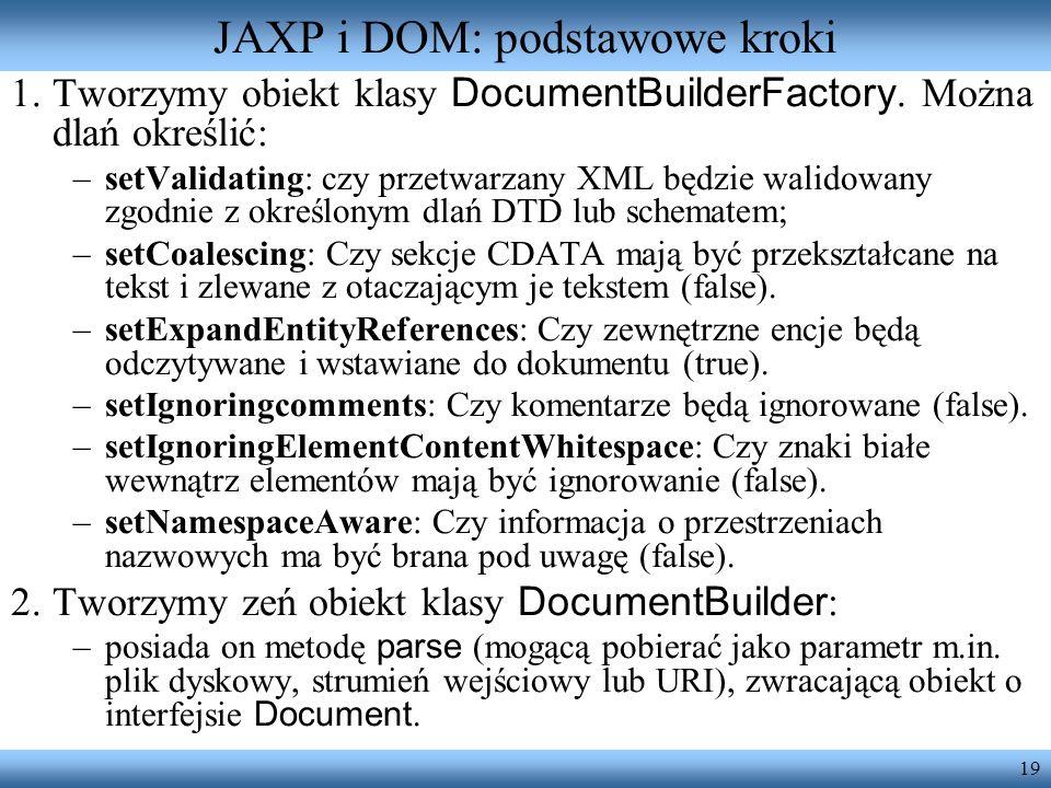 JAXP i DOM: podstawowe kroki