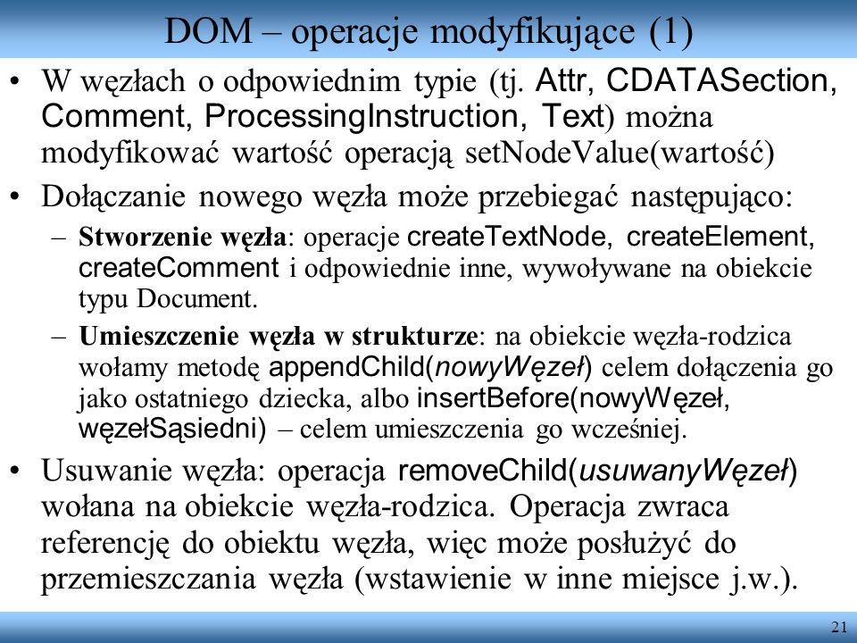 DOM – operacje modyfikujące (1)