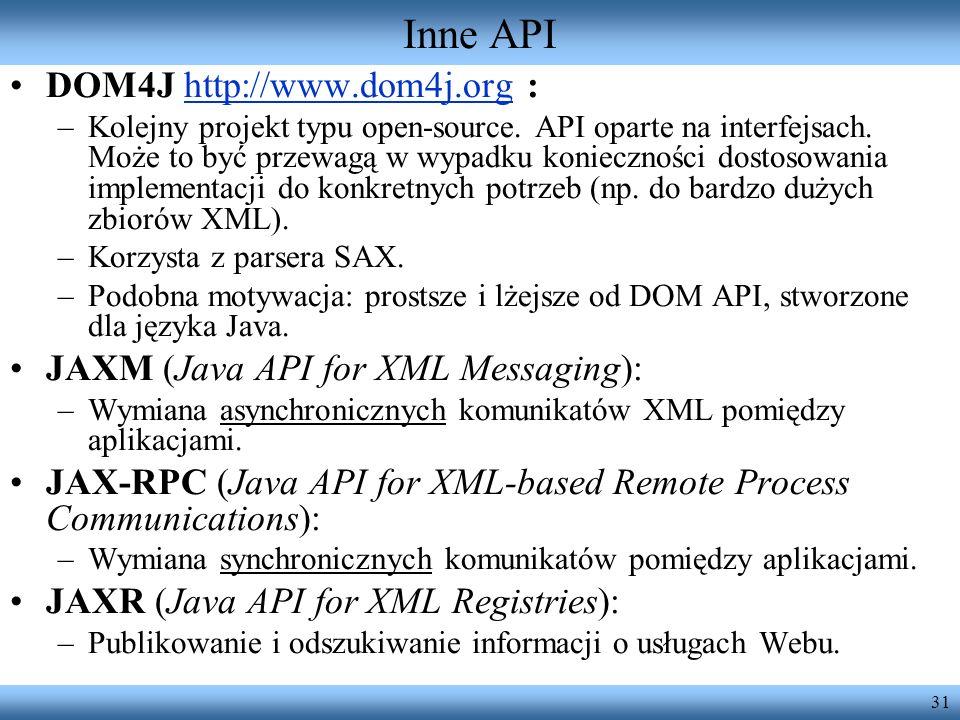 Inne API DOM4J http://www.dom4j.org :