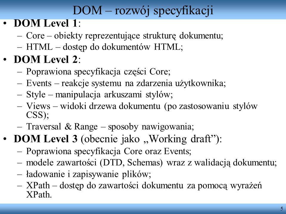 DOM – rozwój specyfikacji