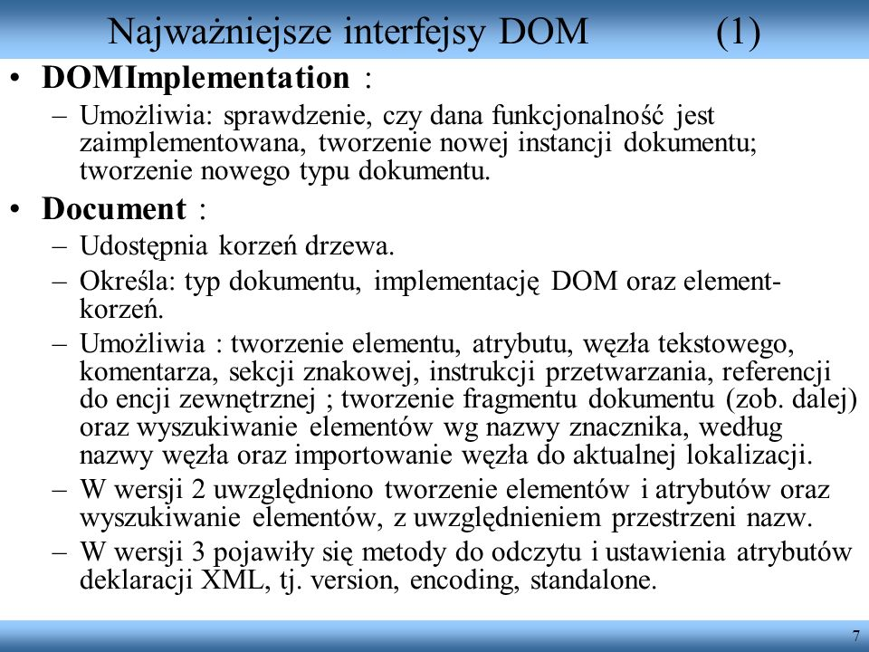 Najważniejsze interfejsy DOM (1)