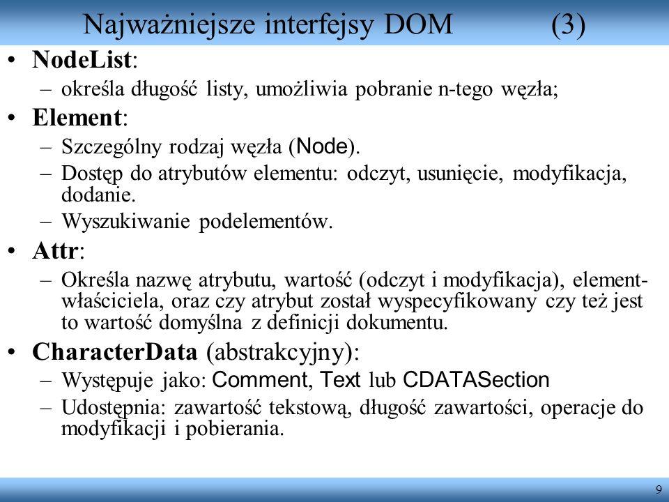 Najważniejsze interfejsy DOM (3)