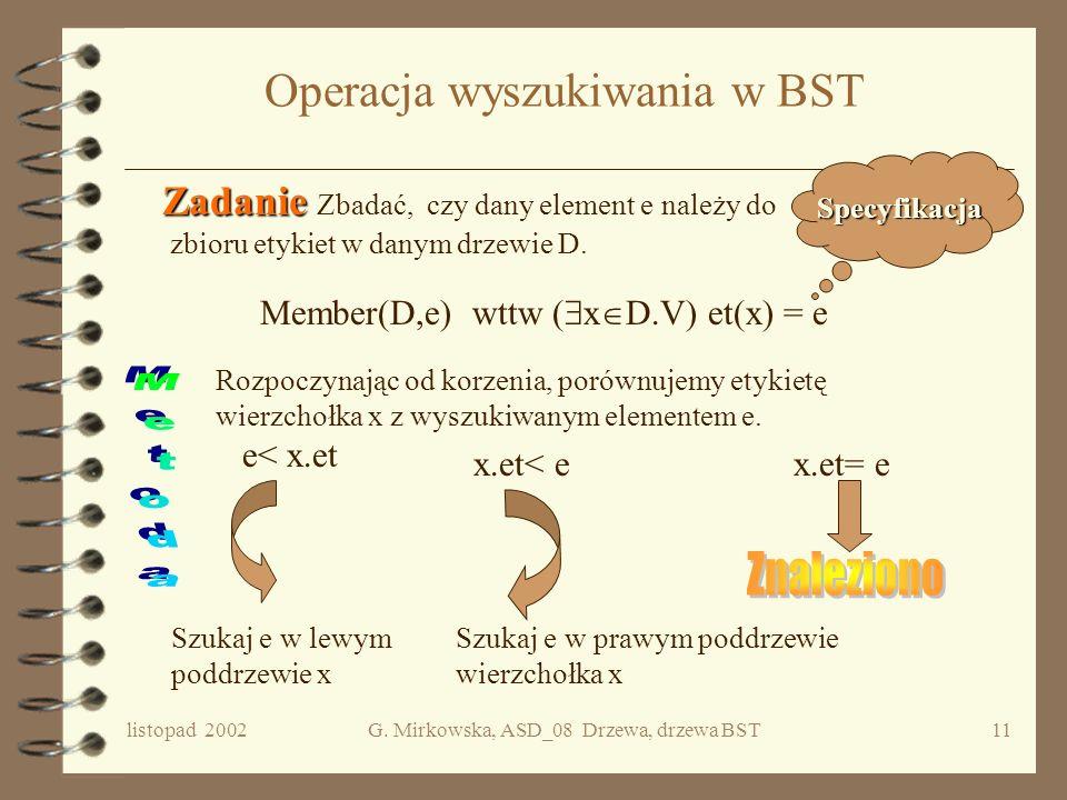 Operacja wyszukiwania w BST