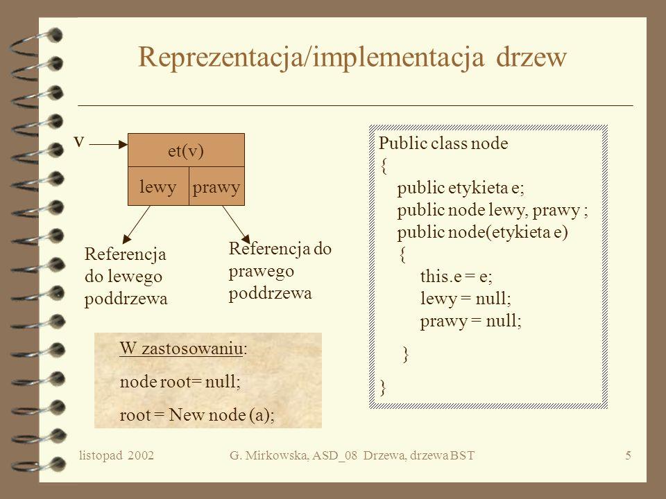 Reprezentacja/implementacja drzew