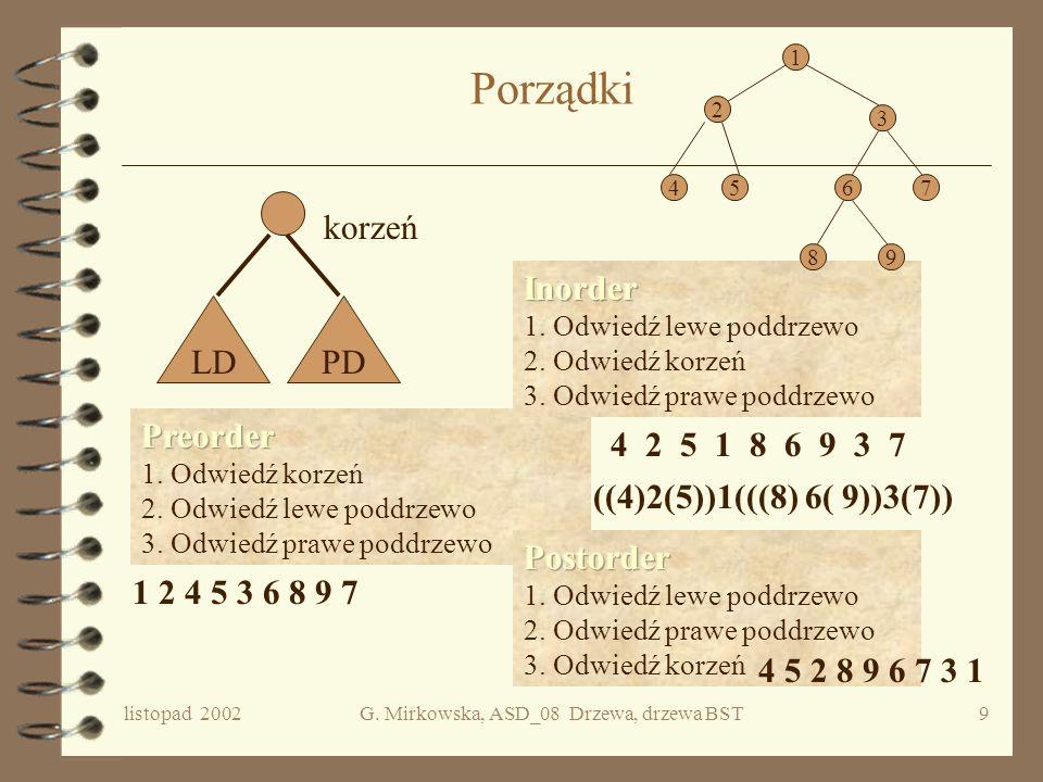G. Mirkowska, ASD_08 Drzewa, drzewa BST
