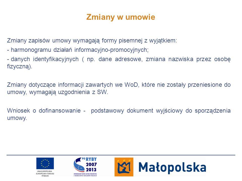 Zmiany w umowie Zmiany zapisów umowy wymagają formy pisemnej z wyjątkiem: harmonogramu działań informacyjno-promocyjnych;