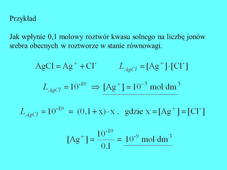 Przykład Jak wpłynie 0,1 molowy roztwór kwasu solnego na liczbę jonów.